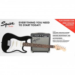 Fender Squier Affinity Short Scale Strat Pack w/ Frontman 10G Amp - Black