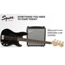 Fender Squier PJ Bass Pack w/ Rumble 15 Amp - Black