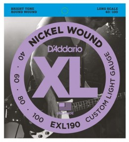 D'Addario EXL190 Custom Light Guage (40-100) 4-String Bass Strings