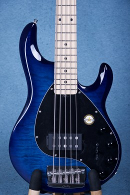 Sterling by Music Man Ray35 Ray35QM African Mahogany Electric Bass Guitar - Neptune Blue SR34166