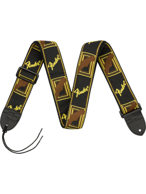 "Fender 2"" Monogrammed Strap Black / Yellow / Brown - 0990681000"