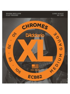 D'Addario ECB82 Chromes Flatwound Medium Guage (50-105) 4-String Bass Strings