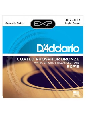 D'Addario EXP16 Coated Phosphor Bronze Light (12-53) Acoustic Guitar Strings