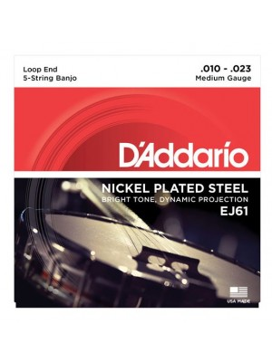 D'Addario EJ61 Nickel 5-String Medium Banjo Strings