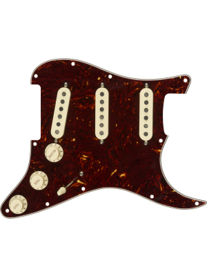 Pre-Wired Strat Pickguard, Tex-Mex SSS Tortoise Shell 11 Hole
