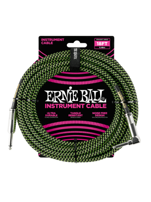 Ernie Ball 18' Braided Straight/Angle Instrument Cable - Black//Green