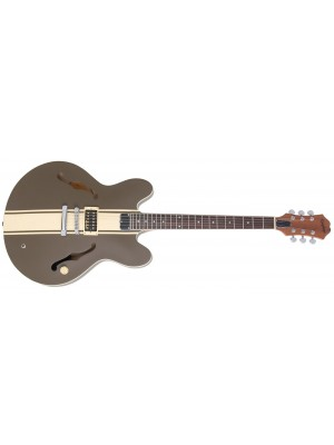 Epiphone Riviera, Tom Delonge Signature ES-333 - Brown w/ Cream Racing Stripe