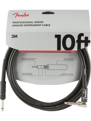 Fender Professional Series Instrument Cable 10' Black Angled - 0990820025