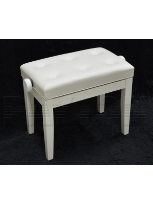 Paytons Adjustable Buttoned Seat Piano Bench - White