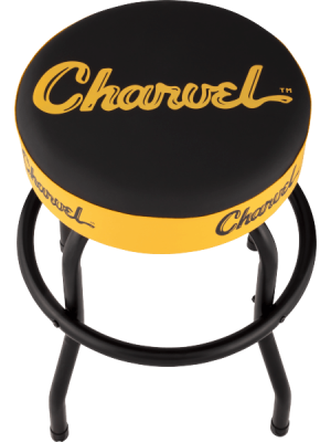 Charvel Toothpaste Logo Barstool - Black and Yellow, 24""