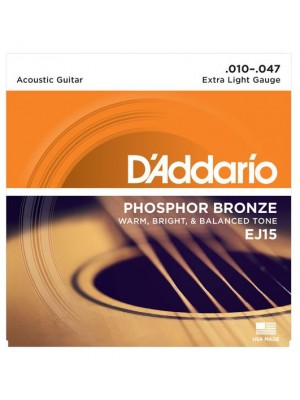 D'Addario EJ15 Phosphor Bronze Extra Light (10-47) Acoustic Guitar Strings