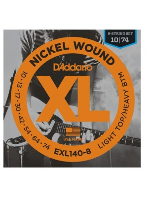 D'Addario EXL140-8 Light Top / Heavy Bottom 8-String (10-74) Electric Guitar Strings