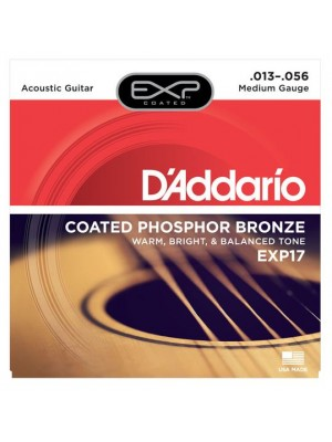 D'Addario EXP17 Coated Phosphor Bronze Medium (13-56) Acoustic Guitar Strings