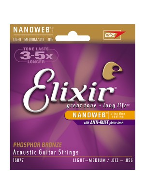 Elixir Nanoweb Light / Medium (12-56) Phosphor Bronze Acoustic Guitar Strings