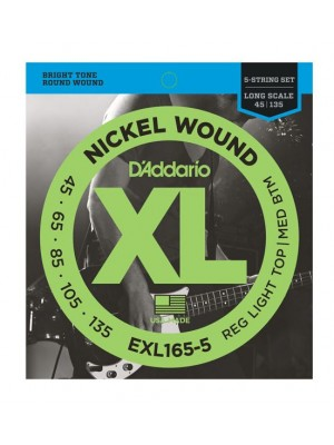 D'Addario EXL165-5 Nickel Wound Long Scale Light Top / Medium Bottom 5-String Bass Strings