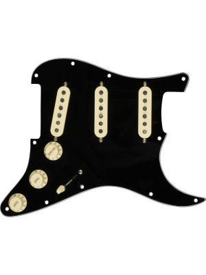 Pre-Wired Strat Pickguard Custom Shop Fat 50s SSS Black 11 Hole