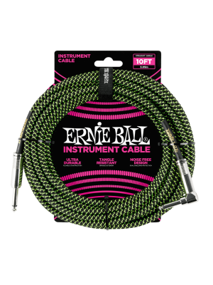 Ernie Ball 10' Braided Straight/Angle Instrument Cable - Black/Green