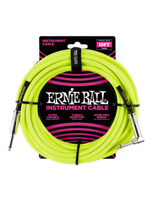 Ernie Ball 10' Braided Straight/Angle Instrument Cable - Neon Yellow