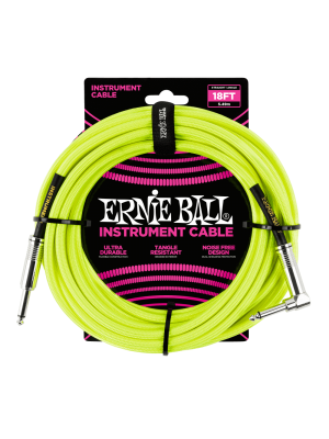 Ernie Ball 18' Braided Straight/Angle Instrument Cable - Neon Yellow