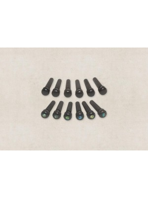 Taylor Bridge Pins - Ebony with Abalone dots (Pack of 6)